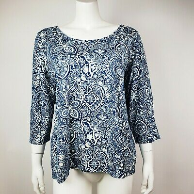 CHARTER CLUB Pima Cotton Luxury Blue Gold Glitter 3/4 Sleeve Top Womens Size 1X