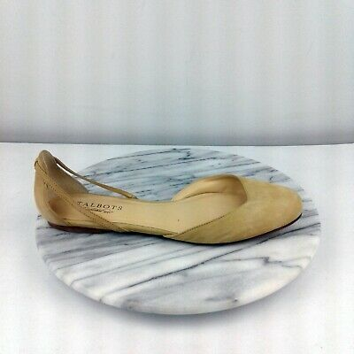 Talbots Womens Size 9 Beige Leather D'Orsay Casual Slip On Open Side Flats