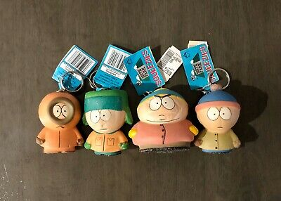 Vintage 1998 Comedy Central South Park Squeezies Set Of 4 Key Chain Toy's