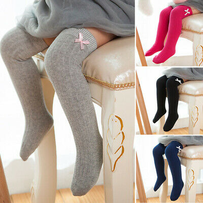 Over Knee Cotton Sweet Princess Sock Striped Bowknot Leg Warmers Baby Girls