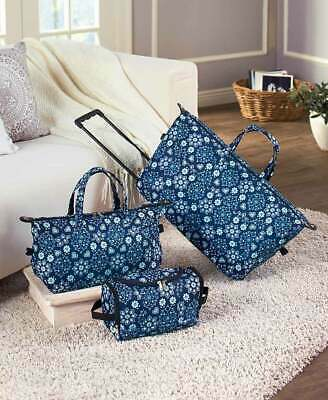3 BLUE FLOWER LUGGAGE ROLLING DUFFEL TOTE BAG TRAVEL COSMETIC CASE Weekend Carry