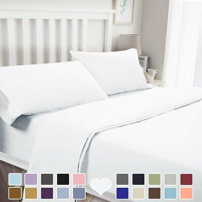 1000TC Ultra Soft Flat & Fitted Sheet Set Single/Double/Queen/King/Size Bed AUS