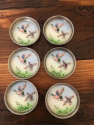 Vintage / Retro Glass Hand Painted Decorative Flying Duck Coasters Barware