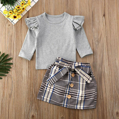 Toddler Baby Girls Autumn Spring Clothes Set Cotton Tops + Mini Skirt Outfits