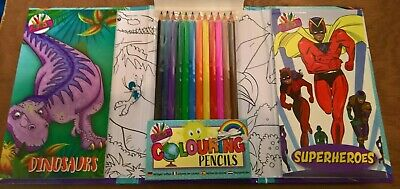 Dinosaurs and super heros travel set  colouring books and 12 colouring pencils