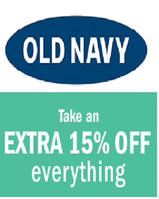 Old Navy 15 % Coupon Code - COMBINES with ON LINE Discount - Immediate Delivery!
