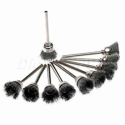 10Pcs Steel Wire Wheel Cup Brushes 3mm Shank Mandrel Drill Grinder Rotary Tool
