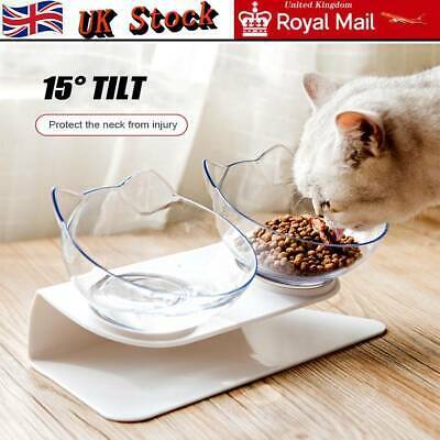 Cat Double Bowls with Raised Stand Pet Food Water Bowl Dog Feeder Dual Angle