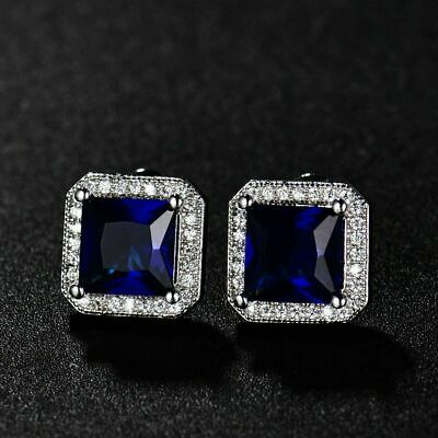 4Ct Cushion Cut Amethyst Push Back Solitaire Stud Earrings 14K White Gold Finish