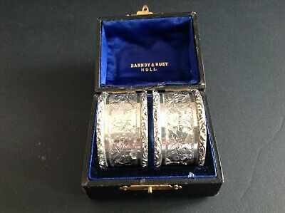 Pair Boxed Antique Victorian Silver Napkin Rings - 1899