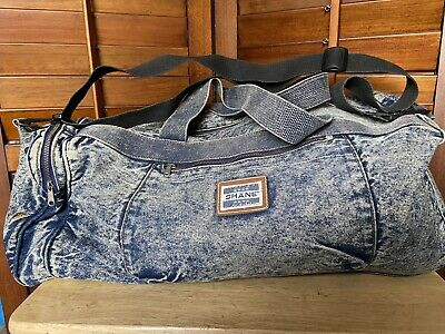 Vintage Shane Acid Washed Denim Zipper Bag Duffel Travel EUC A1T