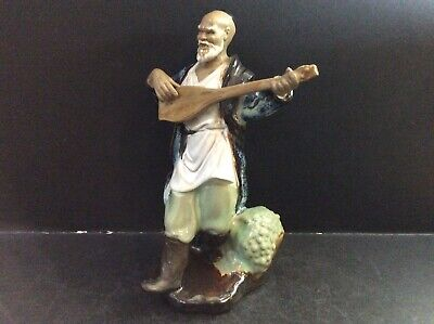 Chinese Mud Man Figure Of Man Playing A Lute Large 21.5cm Tall