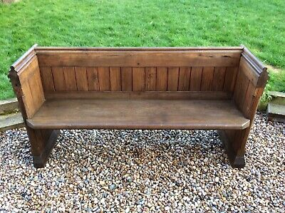 Antique Victorian solid pitch pine church pew settle bench seat monks original
