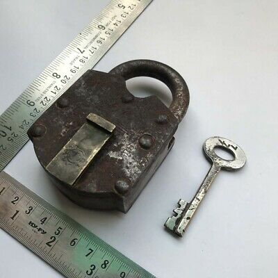 Old Antique Iron and Brass Padlock Lock Collectible trick puzzle with key
