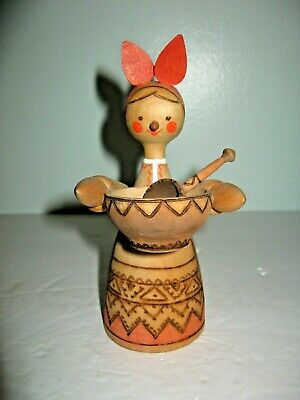 Vintage Mockba Russian Colorful Wooden Carved Woman Holding Bowl Figurine