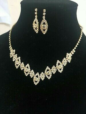Women Fashion Gold necklace Set wedding and party wear Uk seller