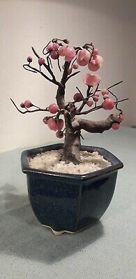 Chinese Pink Blossom Flower Glass Bonsai Tree in Pottery Plant Pot