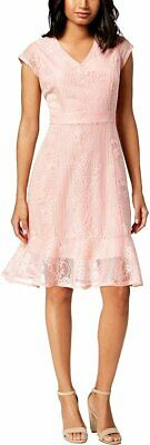 NY Collection Womens Petites Lace V-Neck Party Dress