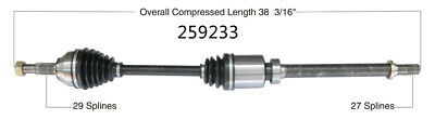 CV Axle Shaft Front Right WorldParts 259233 fits 07-13 Nissan Altima