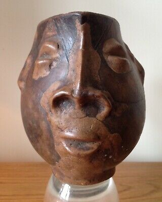 Antique Rare Face water libation wood jug - inspired Picasso