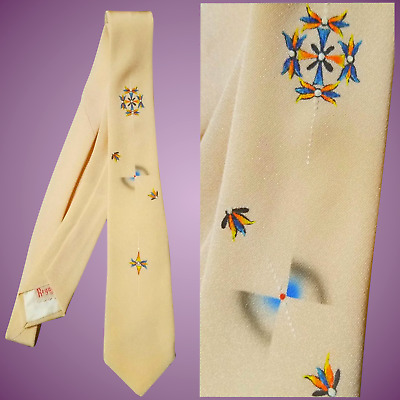"""COLLECTIBLE! Vintage 1950s Microbead PAINTED SILK Rockabilly """"ATOMIC"""" REGAL Tie"""