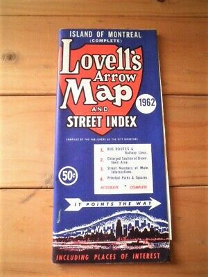 Vintage Lovell's Arrow Map & Street Index 1962 Island Of Montreal Canada Paper