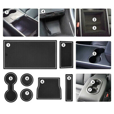 7X Cup Holder /& Center Console  Mat Liner Accessories for Tesla Model 3 White US