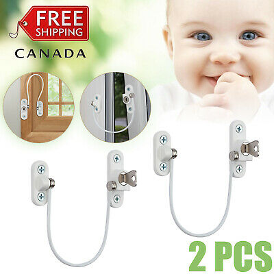 2x Security Window Door UPVC Lock Restrictor for Baby Child Safety Cable 185mm