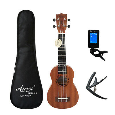 Full set 21 inch mahogany Soprano hawaii guitar ukulele with bag tuner capo