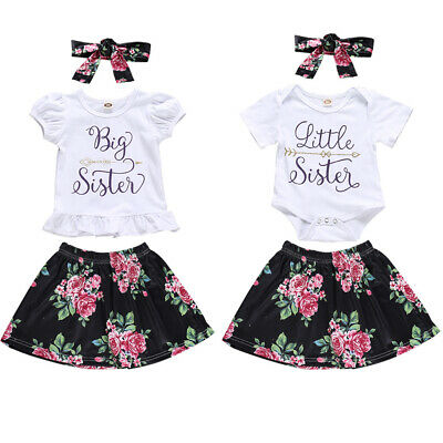 3PCS Big/Little Sister Baby Kids Girls Romper Tops Skirt Clothes Matching Outfit