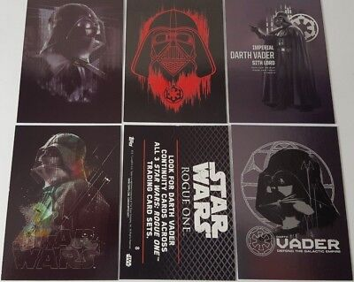 Star Wars ROGUE ONE Series 1  VADER CONTINUITY Trading card Set  of 5 # 6 - 10