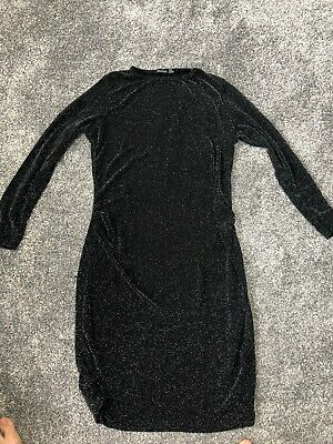 BOOHOO Black Glittery MATERNITY DRESS Long Sleeved, Crew Neck, Stretch, Size 16