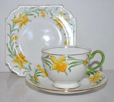Antique Aynsley England Tea Cup and Saucer Trio Daffodills
