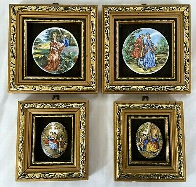 Antique Miniatures Hand Painted Signed Plaques Courting Couples Maple Galleries