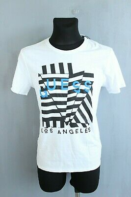 Guess Neuf Blanc Manches Courtes Extensible Homme Chemise T-Shirt Taille M
