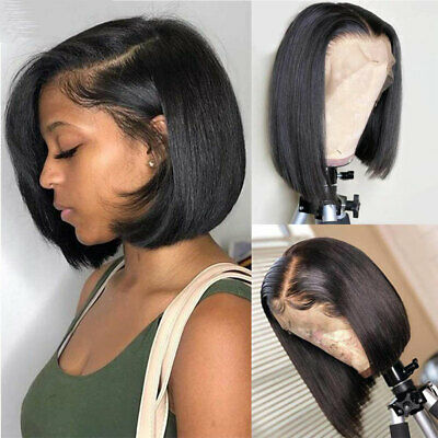 European Real Remy Human Hair Wig Bob Lace Front Wigs Short Straight Hair Full s