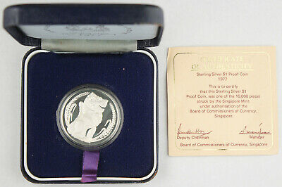 Singapore 1977 Sterling Silver Proof Coin $1 Dollar KM#6a +BOX & COA GEM