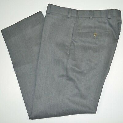 Mint BROOKS BROTHERS Madison 100% Wool Gray Flat Front Dress Pants 34 x 30