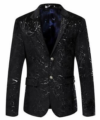 MAGE MALE Men's Dress Party Floral Suit Jacket Notched Lapel Slim Fit Two Button