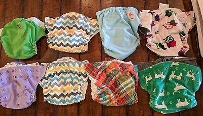 Rumparooz & Kawaii Green baby One Size cloth diapers with inserts.. Lot of 8