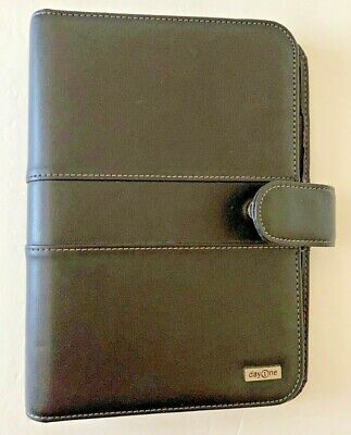 "Franklin Covey Day One 7-1"" Rings Planner Binder Organizer Black Faux Leather"