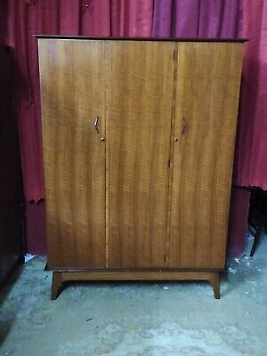 Mid Century Alfred Cox Guild of Handicrafts Walnut  Triple Door Wardrobe