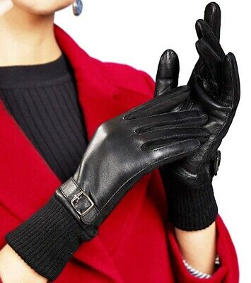 Page One Women's Genuine Leather Fashion Gloves Size Medium TouchscreenBlack New