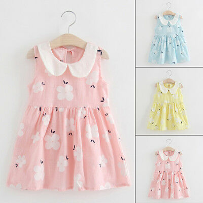 Toddler Kids Baby Girls Floral Sleeveless Dress Princess Party Casual Dresses