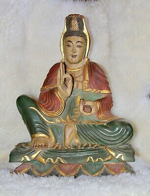 Hand Carved Kuan Yin Seated Wood Sculpture