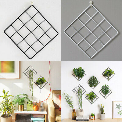 Grid Iron Rack Plant Wall Hanging Home Room Decoration Nordic Style 20x20cm