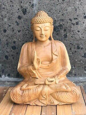 """Buudha Wooden Statue Hand Carved Home Decor Natural Wood Handmade Large 20"""""""