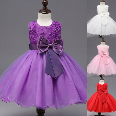 Children Kids Girls Toddler Lovely Round Neck Sleeveless Princess Evening Dress