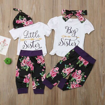Kids Baby Girls Big Little Sister Matching Outfit Romper Tops Pants Clothes 3PCS