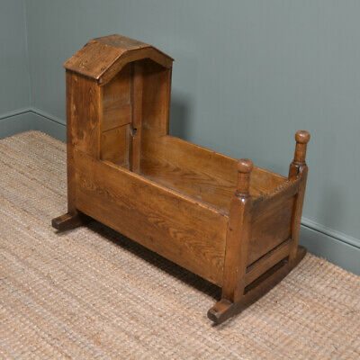 Decorative Georgian Oak Antique Cot / Cradle